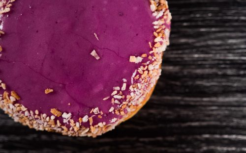 purple ube and coconut donut from the donut monster in Hamilton
