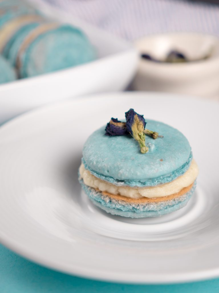 Butterfly Pea Powder Macarons