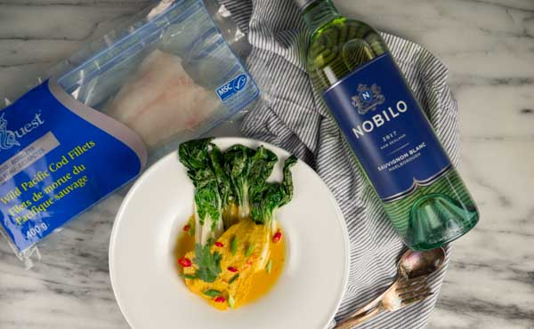 MSC label Thai poached cod with nobilo wine
