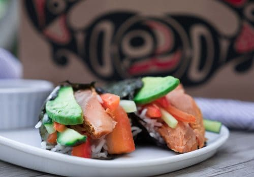smoked salmon sushi hand roll